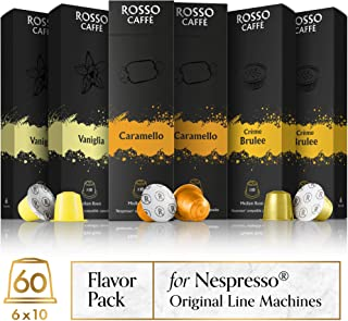 Rosso Coffee Capsules for Nespresso Original Machine - 60 Gourmet Espresso Pods Flavor Pack, Compatible with Nespresso Original Line Machines