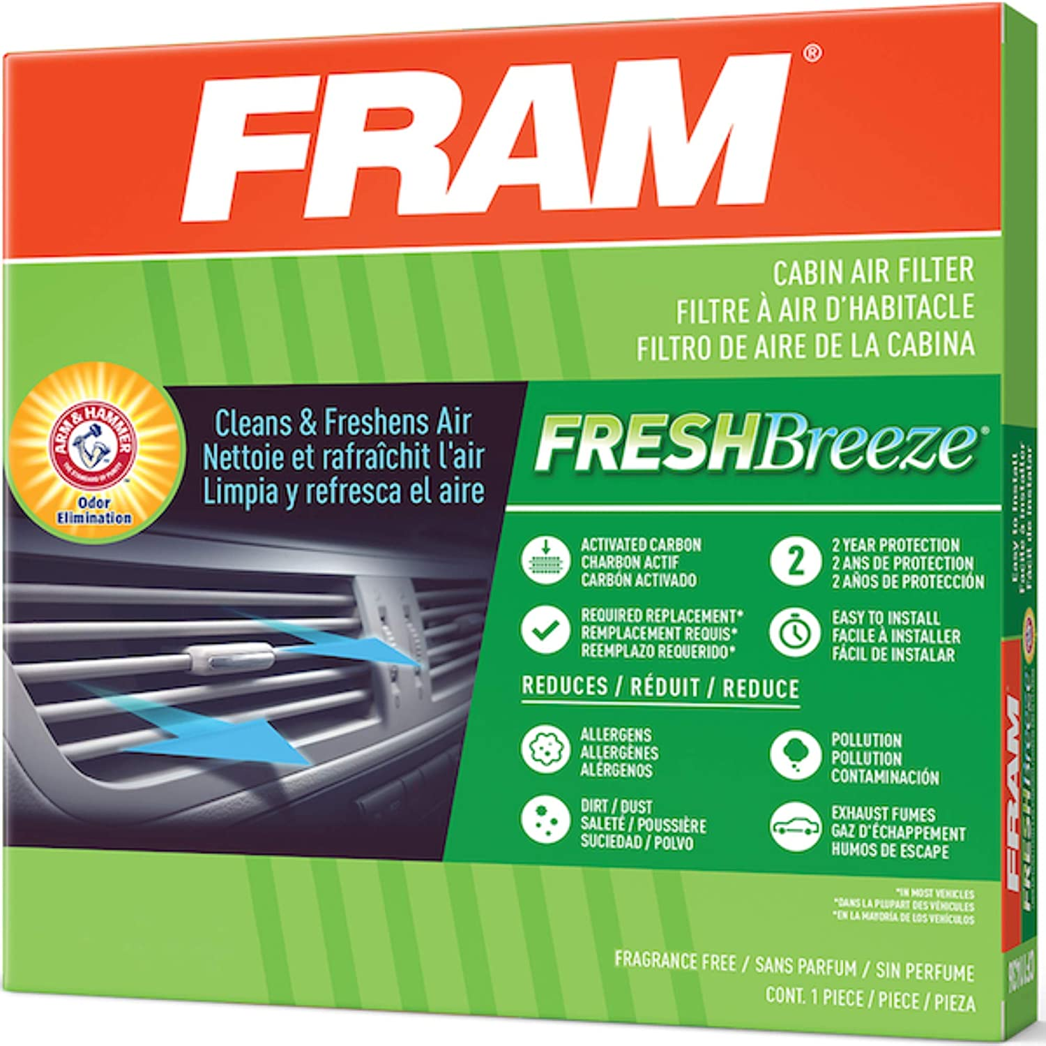 half FRAM Fresh Breeze Cabin National products Air Filter Arm Baking Soda Hammer with