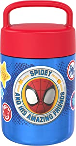 Zak Designs Kids' Vacuum Insulated Stainless Steel Food Jar with Carry Handle, Thermal Container for Travel Meals and Lunch On The Go, 12 oz, Spidey and His Amazing Friends