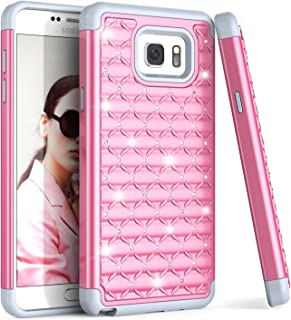 Galaxy Note 5 Case, TILL(TM) Studded Rhinestone Crystal Bling Diamond Sparkly Luxury Shock Absorbing Rugged Defender Hybrid Silicone Plastic Glitter Cute Case Cover For Samsung Note 5 V SM-N920 [Pink]