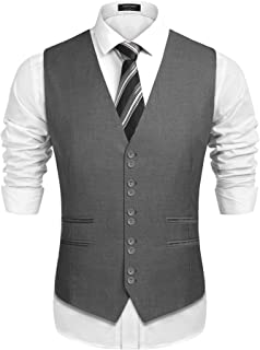 COOFANDY Men's 1920's Style Suit Vest Formal Skinny Slim Fit Wedding Waistcoat