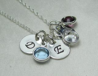 3 Birthstone Necklace for Mothers Personalized Necklace Sterling Silver Initial Monogram Jewelry Gift for Mothers Day