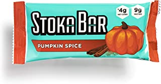 Stoka Bars- Pumpkin Spice | All Natural- Low Carb Energy Bar | 4g Net Carbs | 9g Protein | Keto Friendly | 8 Count