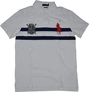 Men's Custom Slim Fit Big Pony Rowing Club Short Sleeve Specialty Polo Shirt (White, X-Large)