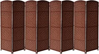 Sorbus Room Divider Privacy Screen, Foldable Panel Partition Wall Divider, Room Dividers and Folding Privacy Screens, Diamond Double-Weaved (8 Panel, Espresso Rust)