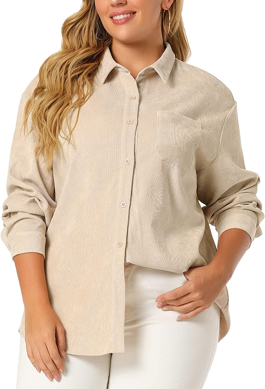 Agnes Orinda Plus Size Jackets for Women Button Up Shirts Button Cuff Long Sleeve Casual Corduroy Shirt