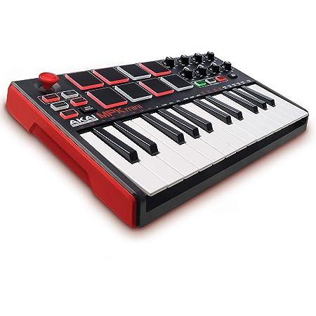 AKAI Professional MPK Mini MKII - Clavier Maître MIDI/USB 25 Touches Sensibles à La Vélocité avec 8 Pads et Joystick 4 Voies + VIP 3 et Pack de Logiciels Inclus