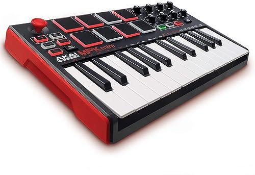 AKAI Professional MPK MINI MKII - Teclado controlador MIDI USB portátil con 25 teclas, 8 pads MPC, 8 potenciómetros, ...