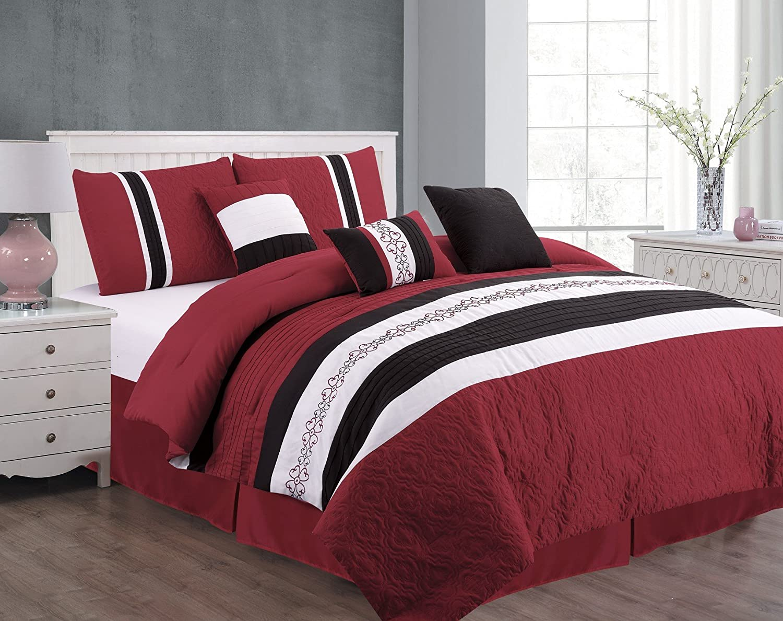 Unique Home 7 Piece Eva Patchwork Bed in a Bag Comforter Set Burgundy King