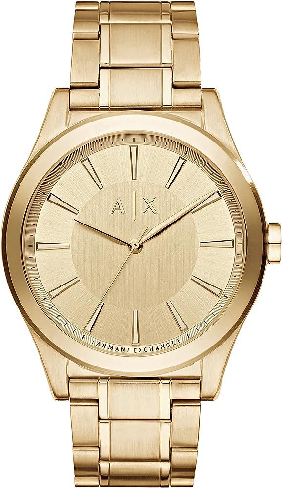 Armani exchange orologio in acciaio inossidabile tono oro per uomo AX2321
