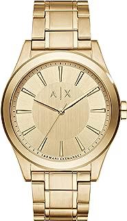 Armani Exchange Men's Smart Watch Analog-Quartz Stainless-Steel Strap, Gold, 22 (Model: AX2321)