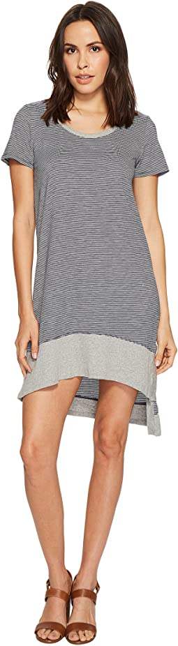 Mod-o-doc - Skinny Stripe Asymmetrical Hem Stripe T-Shirt Dress