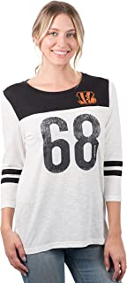 Ultra Game NFL Women's Vintage 3/4 Long Sleeve Tee Shirt