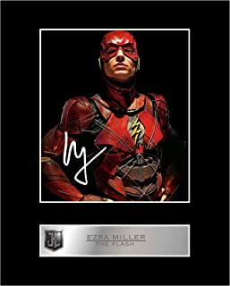 iconic pic Ezra Miller, The Flash Signed Mounted Photo Display Justice League #1 Autographed Gift Picture Print