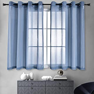 HUTO Small Window Sheer Curtains for Kitchen 2 Panels Grommet Top Window Curtain Panels Drapes for Living Room,52 Inches Width by 45 Inches Length Dusty Blue
