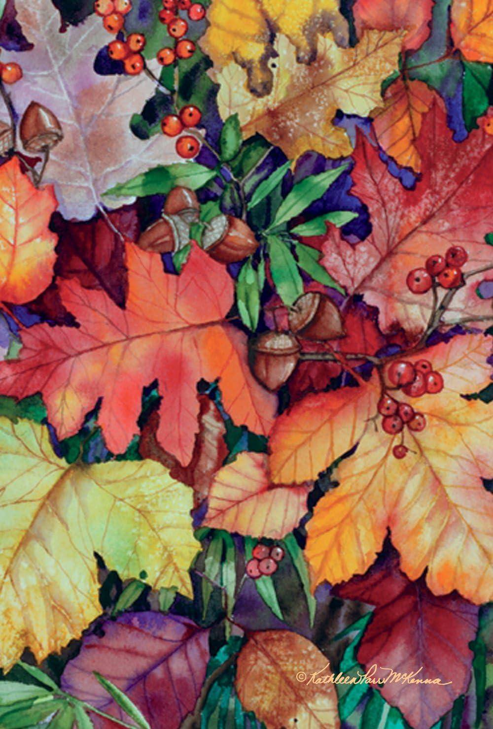 Toland Home Garden Fallen Leaves 28 x 40 Inch Decorative Fall Autumn Leaf Acorn Berries House Flag