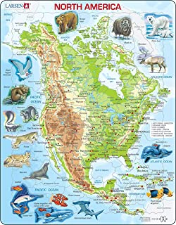 Larsen Puzzles North American Map with Animals Children's Educational Jigsaw Puzzle - 66 Piece Tray & Frame Style Puzzle - Exclusive Premium Handmade Puzzles - Imported from Norway