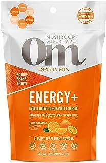 Om Mushroom Superfood Drink Mix, Energy Plus, Citrus Orange, 4 Ounce (18 Day Supply), Cordyceps, Reishi, Lion's Mane, Turm...