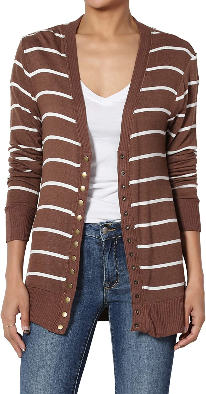 TheMogan S~3X Stripe Snap Button Front V-Neck Long Sleeve Slouchy Knit Cardigan
