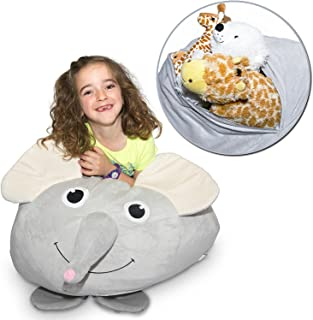 """Jumbo Stuffed Animal Storage Bean Bag - """"Soft 'n Snuggly"""" Comfy Fabric Kids Love - Monkey, Pig or Elephant - Replace Your Mesh Toy Hammock or Net - Store Extra Blankets & Pillows Too"""
