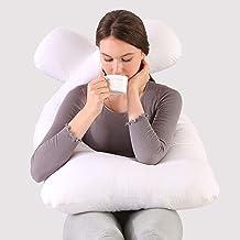 Travesseiros femininos para grávidas, travesseiros em formato de U azul-rosa de 140 cm, algodão encorpado (branco)