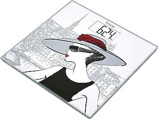 Beurer GS209 - Báscula de baño de vidrio, pantalla LCD blanca, diseño mujer