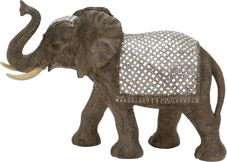 Benzara 44282 Polystyrene Mirror Elephant