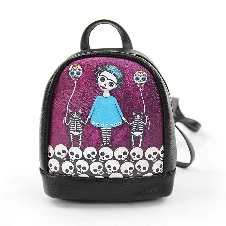 Teal Dress Skeleton Girl with Balloon Cats Mini Backpack