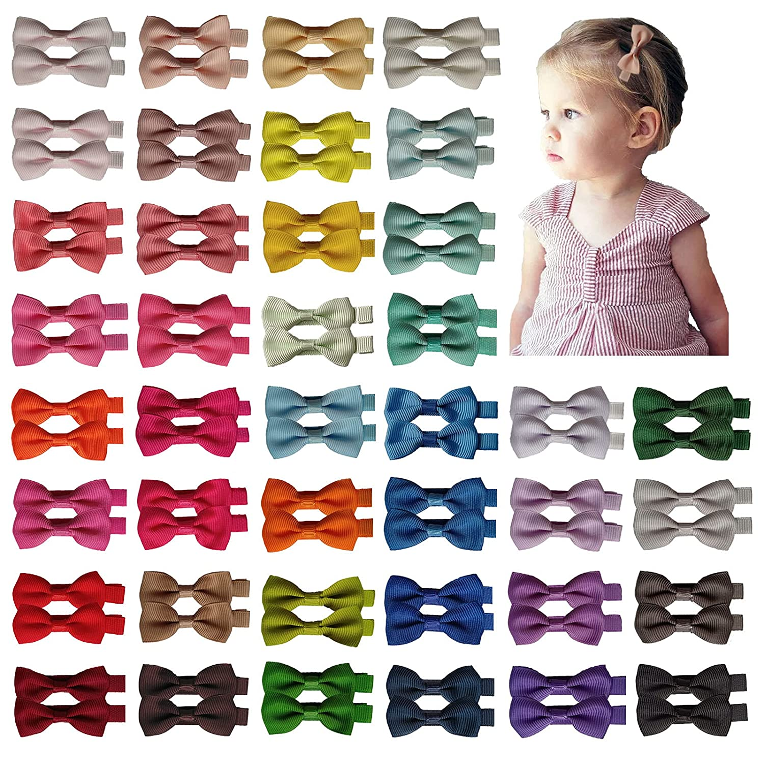 80 Pieces Boutique Grosgrain Ribbon 2 inches Fully Lined Hair Bows Alligator Clips For Girls Babies Toddlers and Infants Gifts in Pairs