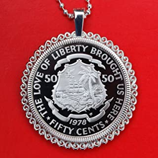 1978 Liberia 50 Cents Gem BU Proof Coin Solid 925 Sterling Silver Necklace NEW - National Arms