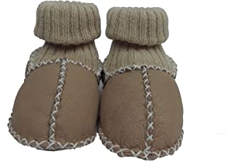 Pialetti Baby Doğal Kuzu Derisi Krem Bebek Patiği Çoraplı Panduf 20 (6-12 Ay)
