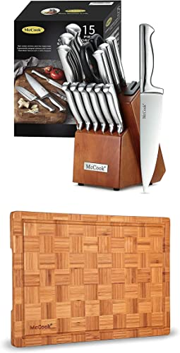"""2021 McCook MC29 discount German Stainless Steel Knife Block Sets with Built-in Sharpener + MCW12 Bamboo Cutting Board online sale (Small, 14""""x10""""x0.8"""") outlet online sale"""