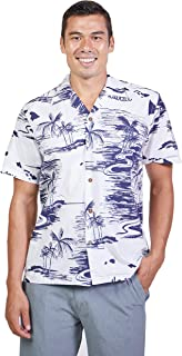 Tropical Luau Beach Map Print Men's Hawaiian Aloha Shirt