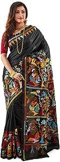 SareesofBengal Women's Bangalore Pure Silk Handloom Kantha Stitch Saree Black