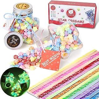 JoyCat 450 Sheets Luminous Origami Stars Paper Kit with 2PCS Star Shape Transparent Plastic Bottles,Stars Folding Paper St...