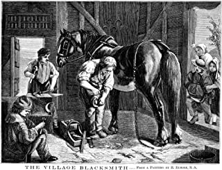 Posterazzi Poster Print Collection the Village Blacksmith./Namerican Line Engraving 1862 After a Painting by Richard Elmore, (18 x 24), Multicolored