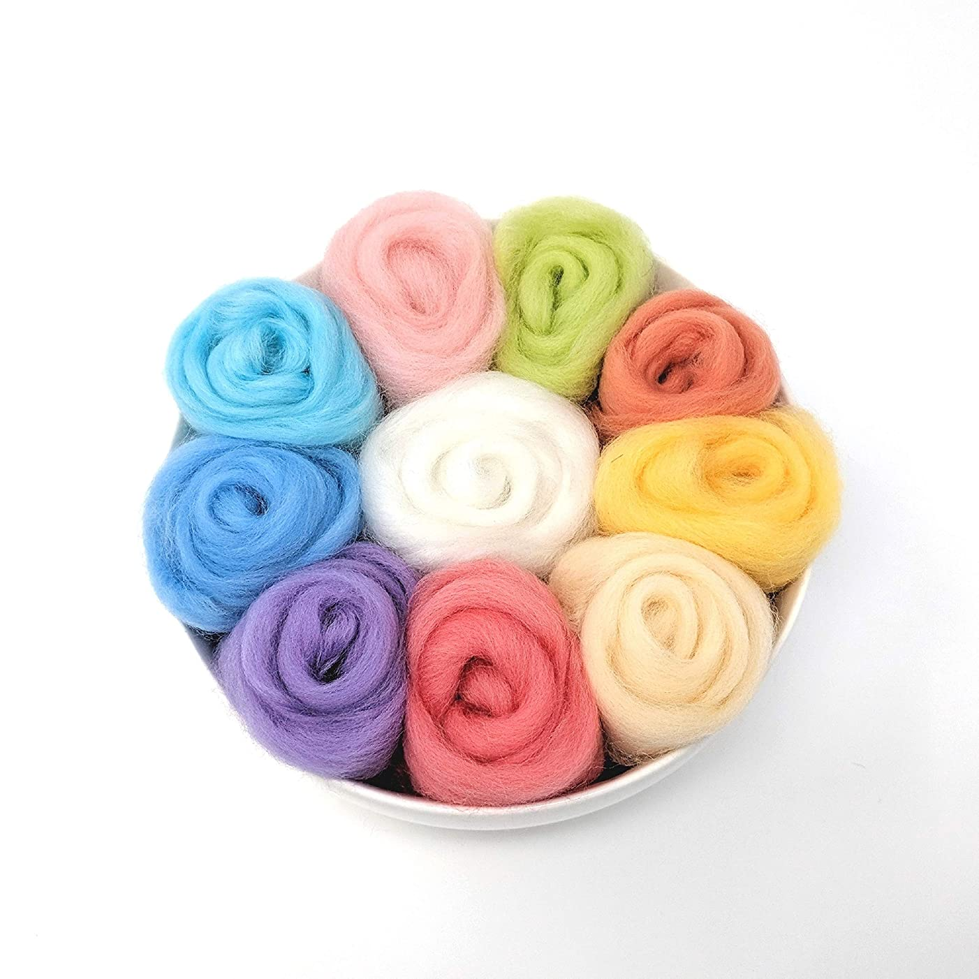 Needle Felting Wool Set of 10 Colors - Pastel Series, 8 Grams Each Color (Pastel)