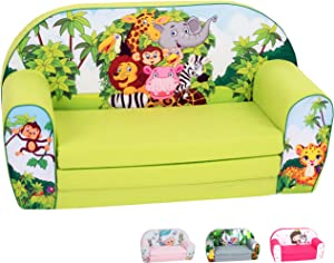 DELSIT Toddler Couch & Kids Sofa - European Made Children's 2 in 1 Flip Open Foam Double Sofa - Kids Folding Sofa, Kids Couch - Comfy fold Out Lounge (Zoo)