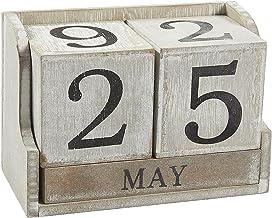 Wooden Block Calendar for Desk, Office, Teacher, Rustic Farmhouse Decor, Date and Month (5 x 4 in)