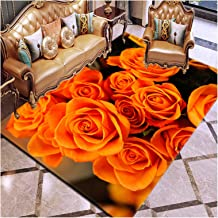 Rose 3D Printing Rug, for Living Room Bedroom Hallway Area Rugs, Anti-Slip Bathroom Kitchen Mat, Easy to Clean, Home Decor...