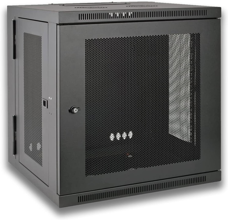 10U Black Wall Mount Rack Enclosure, Hinged Back Rack Enclosure Cabinet,Low Profile Switch Depth Cabinet.
