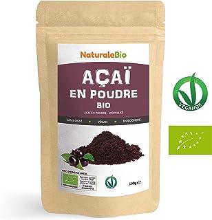 Poudre de Baies d'Açai Bio [Freeze-Dried] 100g. Pure Organic Acai Berry Powder. 100% Produit au Brésil, Lyophilisé, Cru, extrait de la pulpe de baie d'acaï. Superfood riche en antioxydants, vitamines.