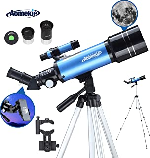 AOMEKIE Aomekie Telescopes for Adults Kids Astronomy Beginners 400mm Focal Length 70mm with Adjustable Tripod Phone Adapter Finderscope Erect-Image Diagonal and Metal Moon Filter