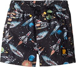 Rock Your Baby Space Invaders Boardshorts (Toddler/Little Kids/Big Kids)