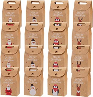 16 Pieces Christmas Treat Bags Kraft Paper Gift Bags with Santa Claus Snowman Deer Design for Christmas Party Handmade Craft