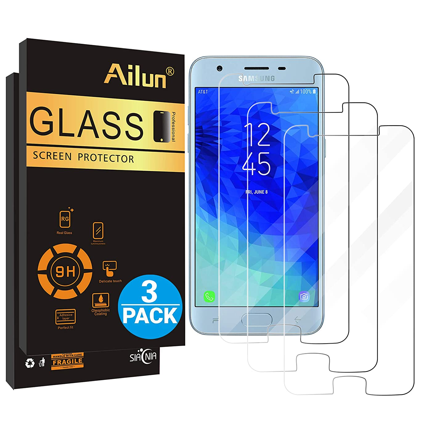 Ailun Screen Protector for Galaxy J3(2018)[3Pack] Tempered Glass for Samsung Galaxy J3 Star 2018 SM-J337,Amp Prime 3 2018,Galaxy J3 V 2018,Galaxy J3 Aura 2018,Galaxy Sol 3 2018,Case Friendly