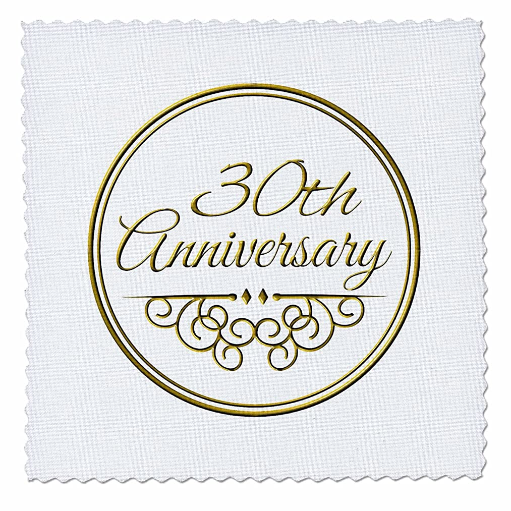 3dRose qs_154472_10 30th Gold Text for Celebrating Wedding Anniversaries 30 Years Married Together Quilt Square, 25 by 25-Inch