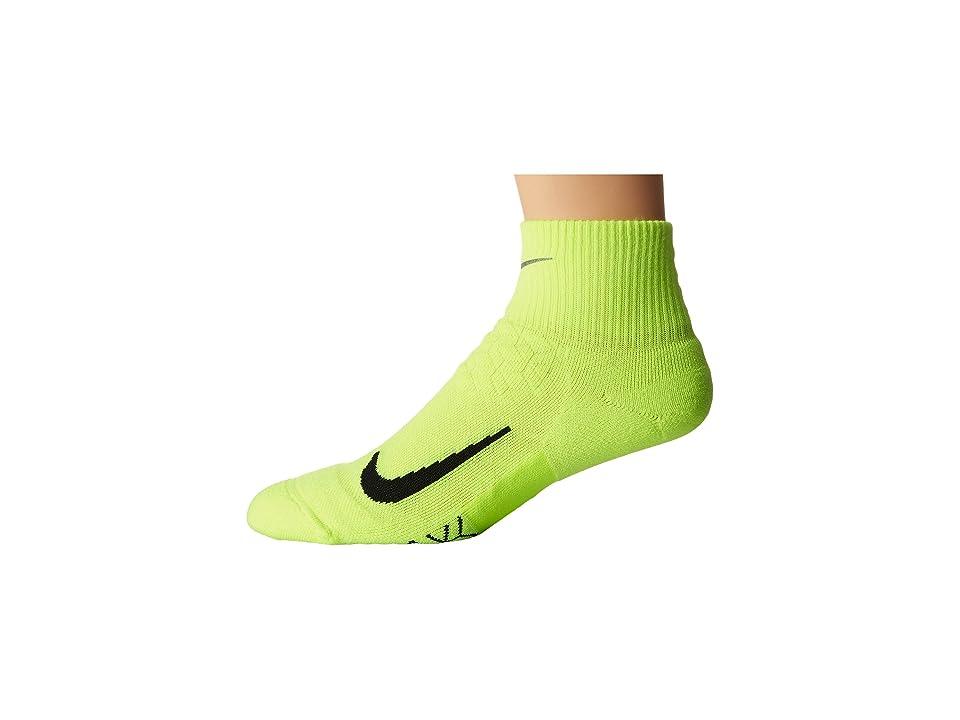 Nike Elite Cushion Quarter Running Socks (Volt/Black) Quarter Length Socks Shoes