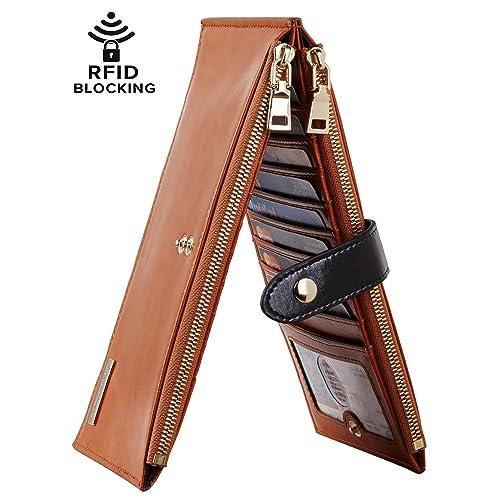 d271b080936d Chelmon Womens Genuine Leather Wallet RFID Blocking Credit Card Holder  Zipper Purse