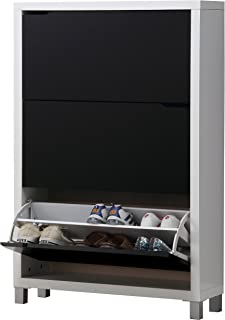comprar comparacion Kit Closet Kubox - Zapatero, 3 Puertas, Color Blanco y Negro